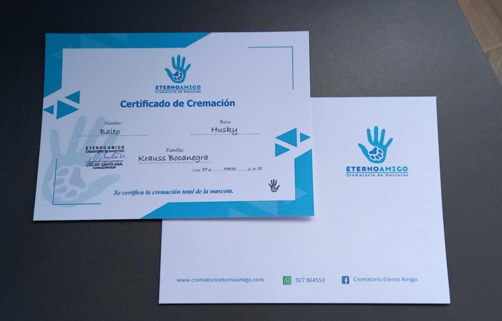 Certificado de cremacion de mascotas Eterno Amigo